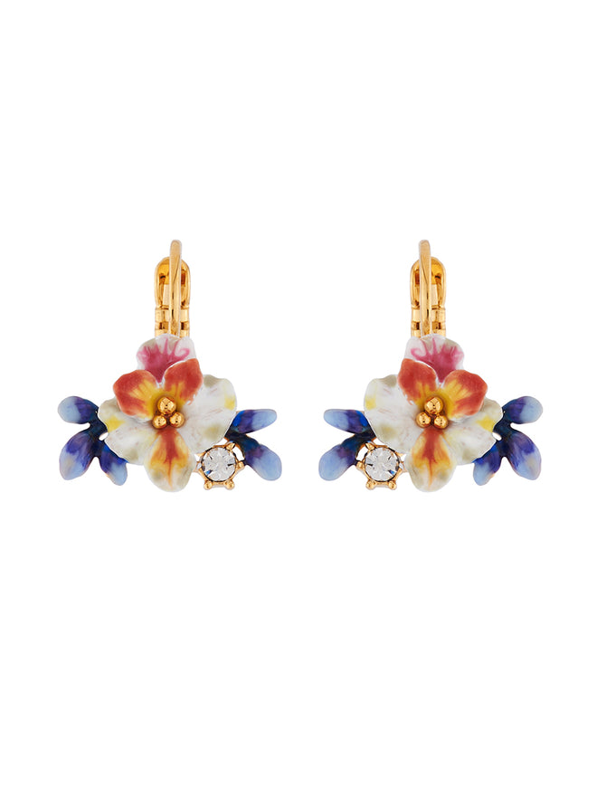 Mysterious Garden White flower, blue buds and rhinestones french hook earrings