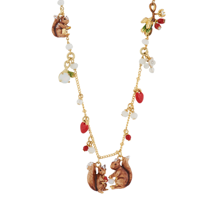 Forest's Secret Multiple Squirrel Charms Necklace
