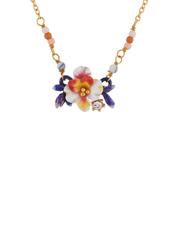 Mysterious Garden White flower and blue buds necklace
