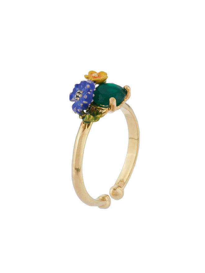 Bucolic Encounters Faceted glass and little flowers adjustable ring Alternate View