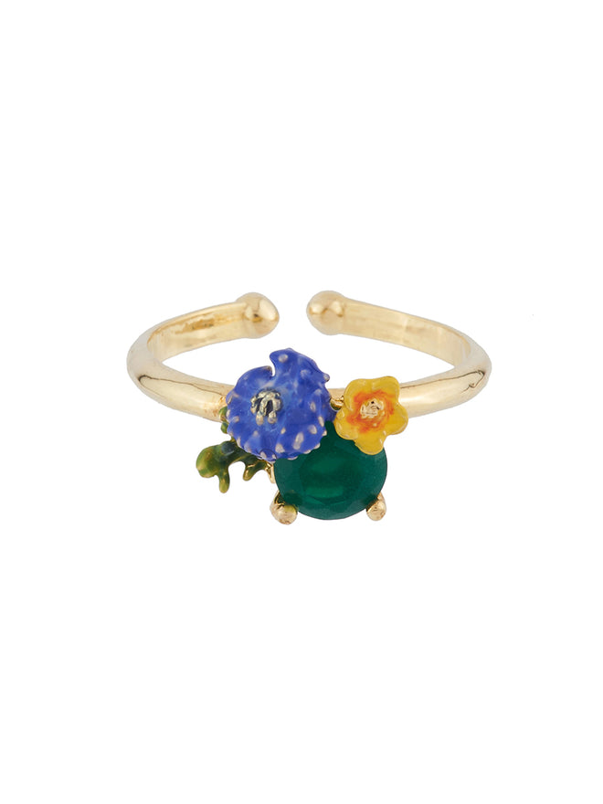 Bucolic Encounters Faceted glass and little flowers adjustable ring