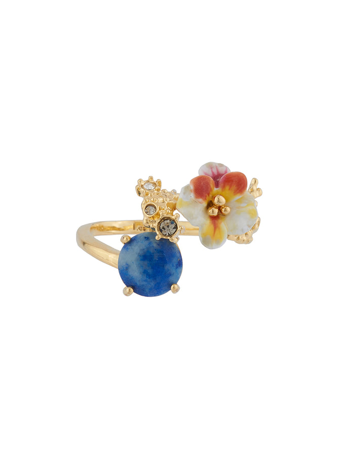 Dazzling Discretion White flower and laced corals on stone adjustable ring
