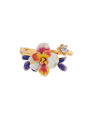 Mysterious Garden White flower and blue buds adjustable ring