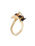 Ostentatious Obscurity Bee with golden wings adjustable ring