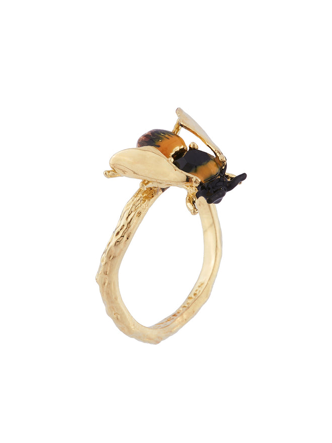 Ostentatious Obscurity Bee with golden wings adjustable ring Alternate View
