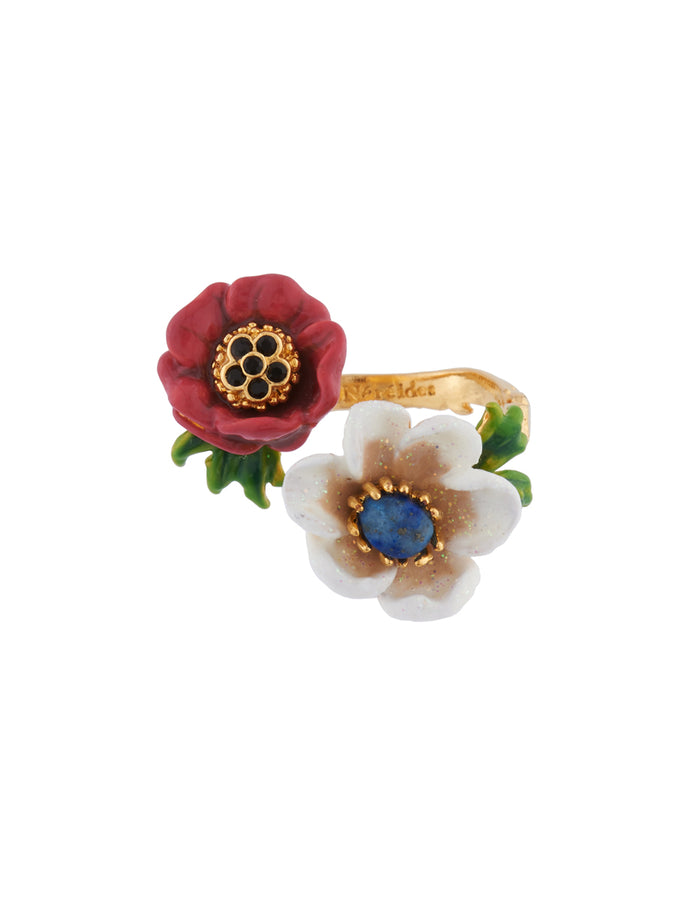 Winter Wishes Red and White Flowers Adjustable Ring