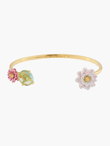 A Simple Swan Water Lily and Light Blue Stone Bangle Bracelet - Multicolor