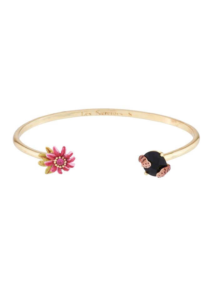 Dazzling Discretion Passion flower, felin paws and  carved crystal bangle bracelet - Multicolor