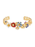 Golden Fields Pastoral flowers bouquet bangle bracelet - Multicolor