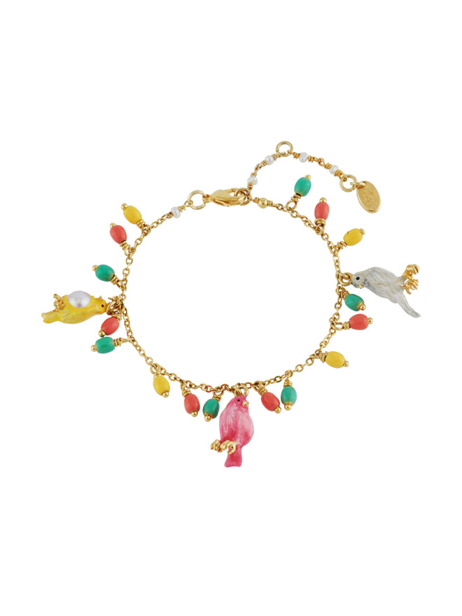 Lovely Canaries Trio of Birds and Multi Charms Bracelet