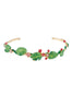 Luxuriant Canopy Tropical leaves and crystal cuff bracelet - Multicolor