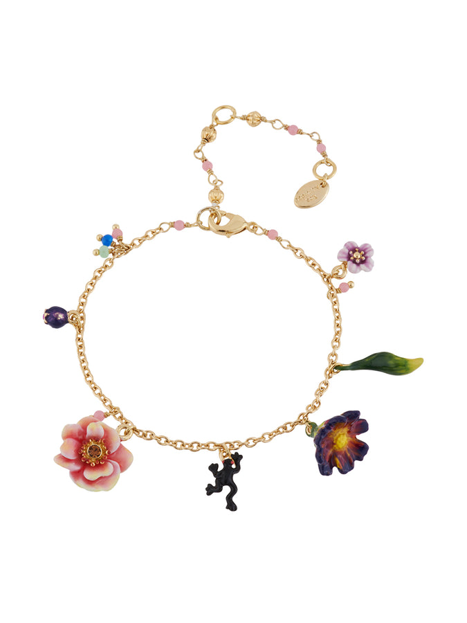 Winter In Giverny Flowers, Frog and Charms Bracelet
