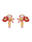 Dazzling Discretion Poppy, white flower, coco plum and mother-of-pearl clip-on earrings