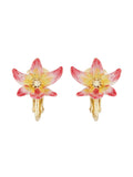 Luxuriant Canopy Tropical flower and crystal clip-on earrings