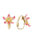 Luxuriant Canopy Tropical flower and crystal clip-on earrings Alternate View