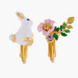 ENCHANTED ENCOUNTER Rabbit and Pink flower Asymmetrical Clip-on Earrings