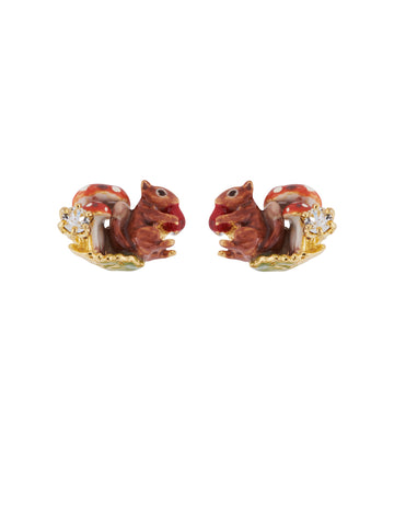 Forest's Secret Squirrel and Mushrooms Earrings