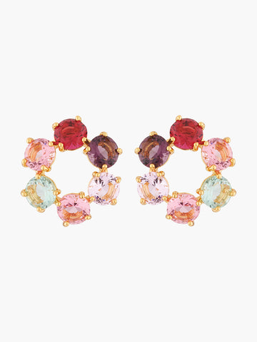 La Diamantine 6 stones Multicoloured small stud hoops earrings