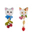 Les Nereides Loves Animals Cat's Faces Asymmetrical Earrings