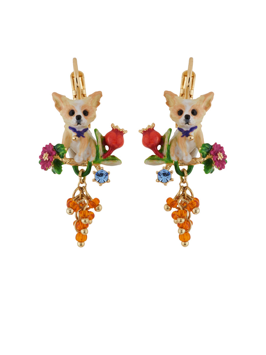 4c1b8391b Les Nereides Loves Animals Chihuahuas on Flowered Branch and Bunch of Beads  Earrings - Zoomed Image < >