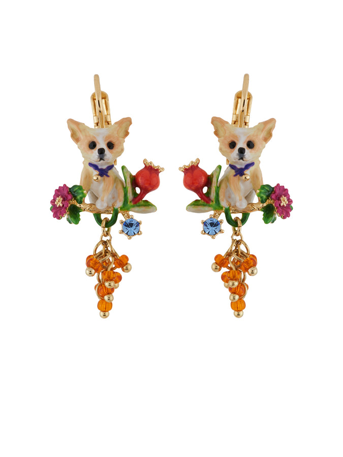 Les Nereides Loves Animals Chihuahuas on Flowered Branch and Bunch of Beads Earrings