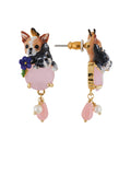 Les Nereides Loves Animals Duo of Chihuahuas on Pink Stone Earrings