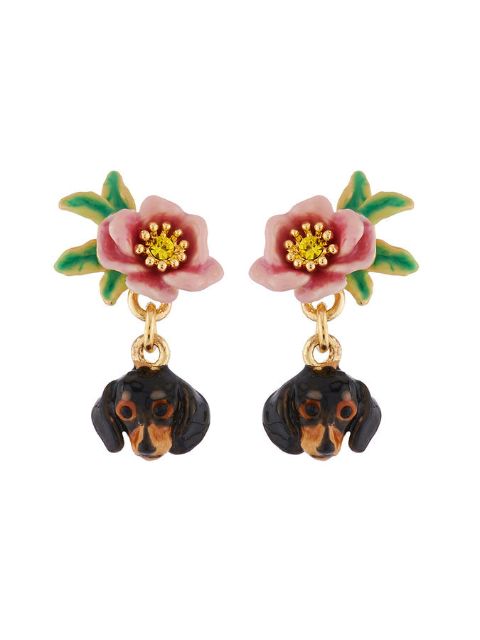 Les Néréides Loves Animals Dachshund's Face and Little Flower Earrings