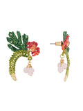 Suspended Garden Coco plums, passion flower and tropical leaves stud earrings
