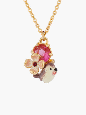 Autumn Delights Robin and Red Stone Pendant Necklace