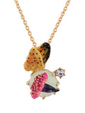 Dazzling Discretion Chimerical Flower, Butterfly and Blue Stone Necklace