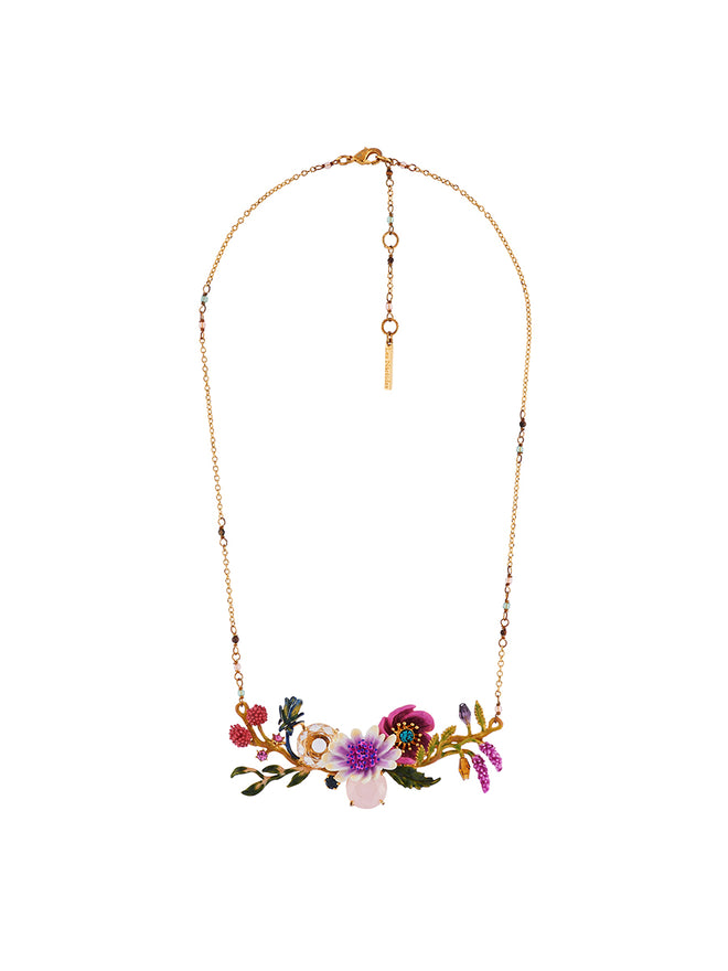 Flowers Symphony White and Pink Flowers and Faceted Glasses on Flowered Branch Necklace Alternate View