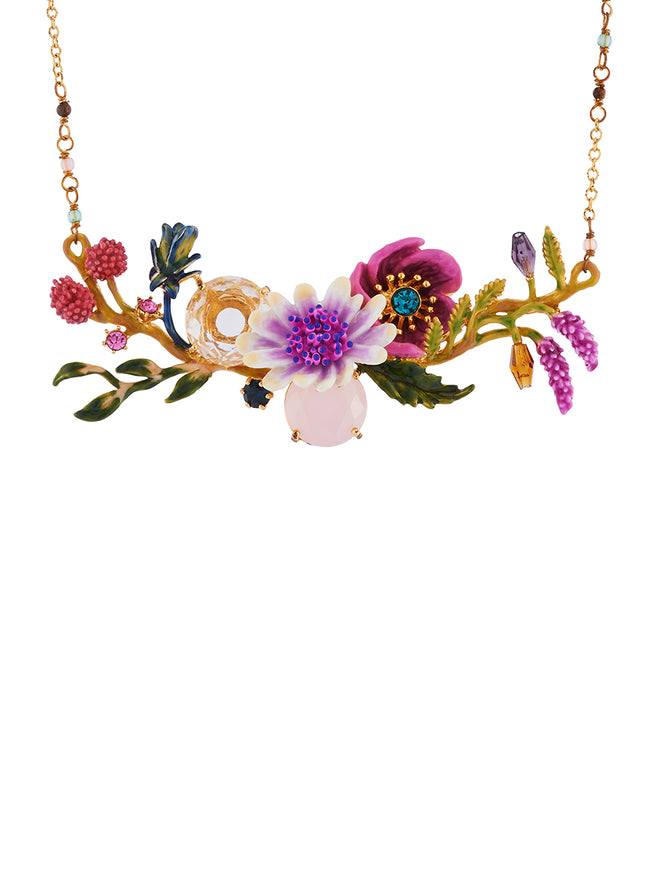 Flowers Symphony White and Pink Flowers and Faceted Glasses on Flowered Branch Necklace