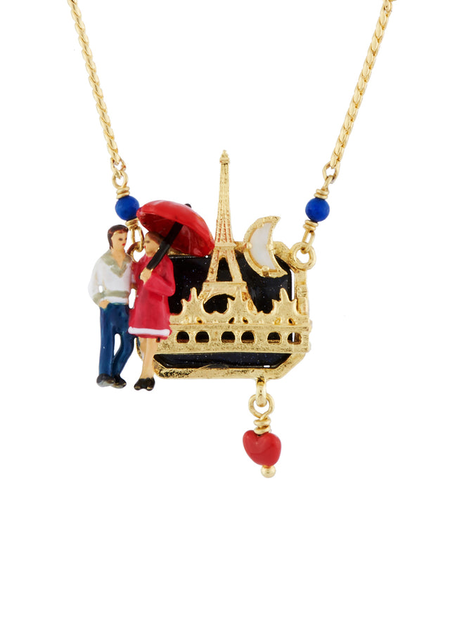 From Paris with Love Lovers on A Noctural Walk at The Bottom of The Eiffel Tower Necklace