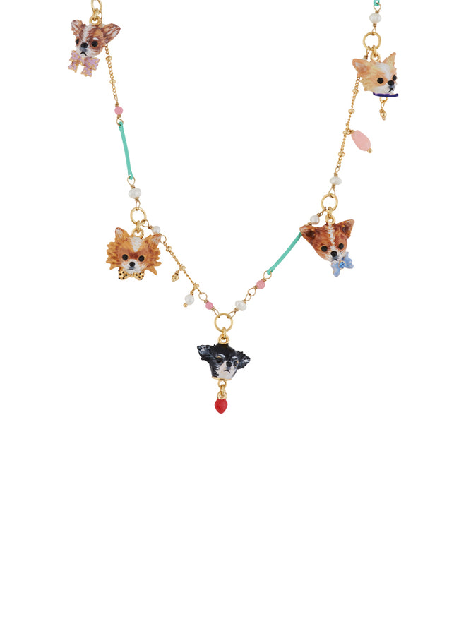 Les Nereides Loves Animals Chihuahuas' Faces Half-Beaded Necklace