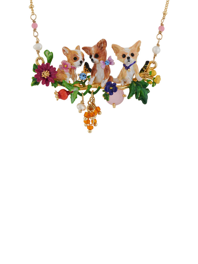 Les Nereides Loves Animals Chihuahuas' Family on Flowered Branch and Stones Necklace