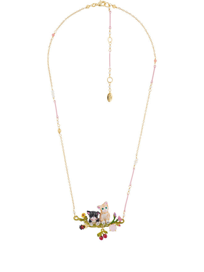 Les Nereides Loves Animals Duo of Cats on Flowered Branch Necklace Alternate View
