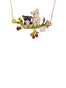 Les Nereides Loves Animals Duo of Cats on Flowered Branch Necklace