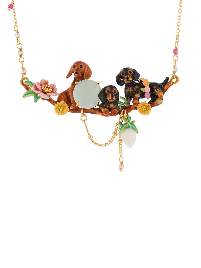 Les Néréides Loves Animals Dachshund's Family, Flowers and Faceted Glass Necklace