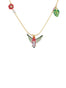 Luxuriant Canopy Hummingbird with exotic flowers long necklace