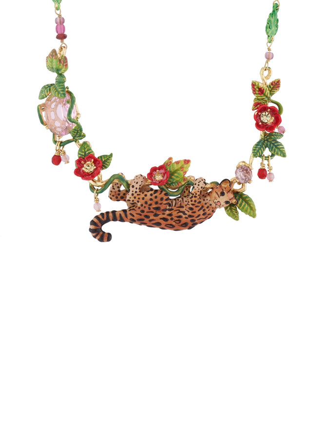 Luxuriant Canopy Ocelot, tropical leaves and carved crystal long necklace