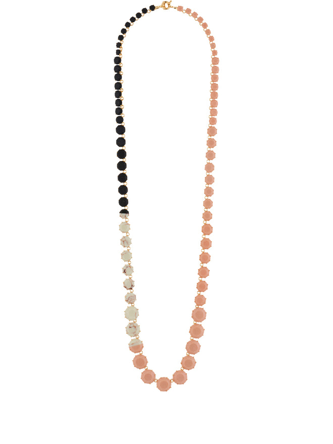 Special La Diamantine Pink, Marbled and Glittered Black Stones Luxurious Long Necklace Alternate View