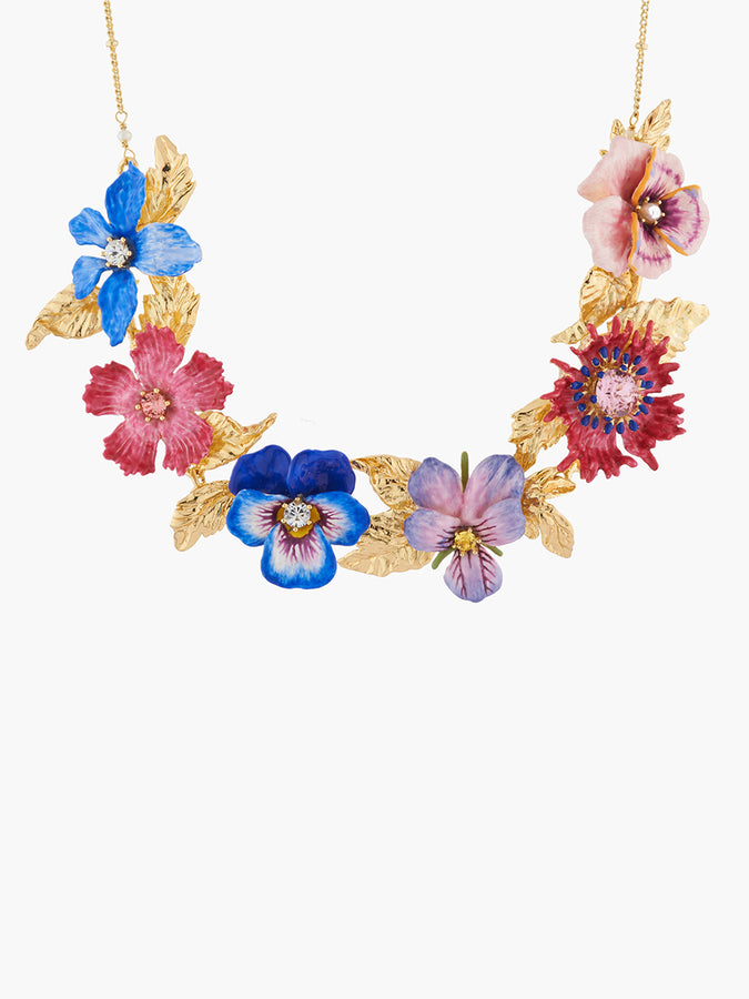 Thousand Pansies Winter's flower and golden leaves collar necklace
