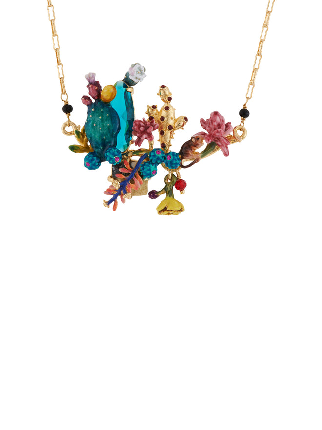 Twilight Desert Blue and Golden Cactuses and Multi Flowers Necklace Alternate View
