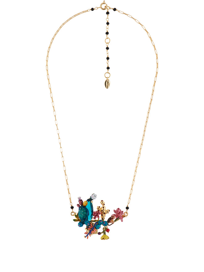 Twilight Desert Blue and Golden Cactuses and Multi Flowers Necklace