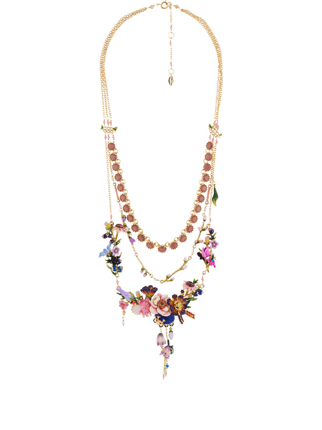 Winter In Giverny Bouquet of Giverny's Garden Triple Row Couture Necklace Alternate View