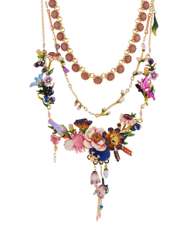 Winter In Giverny Bouquet of Giverny's Garden Triple Row Couture Necklace