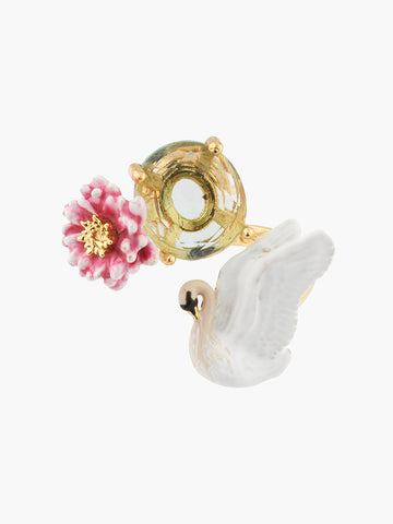 A Simple Swan White Swan and Pink Water Lily Adjustable Ring