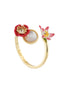 Dazzling Discretion Poppy, white flower, coco-plum and mother-of-pearls adjustable ring Alternate View