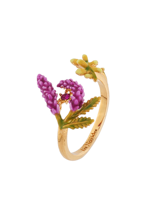 Flowers Symphony Branch of Lavender and Yellow Buds Adjustable Ring Alternate View