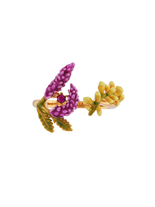 Flowers Symphony Branch of Lavender and Yellow Buds Adjustable Ring